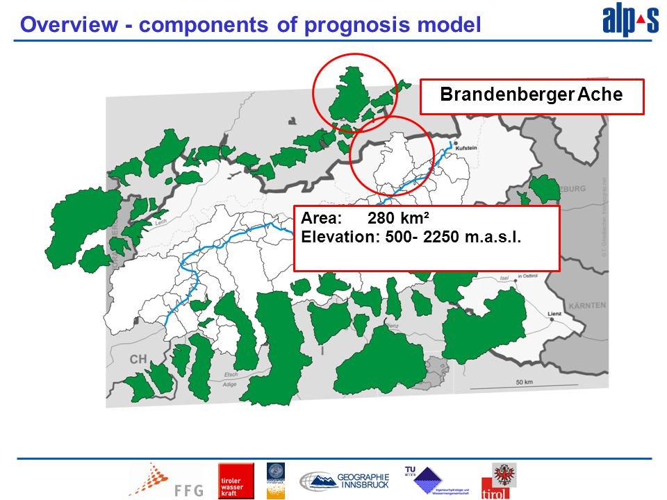 Overview - components of prognosis model Brandenberger Ache Area: 280 km² Elevation: 500- 2250 m.a.s.l.