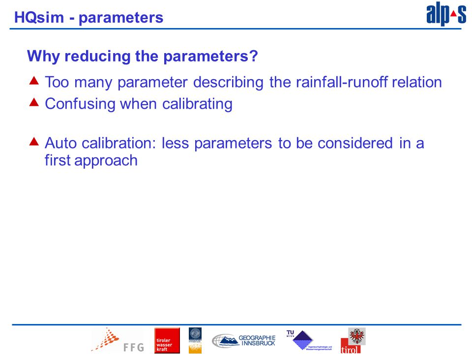 HQsim - parameters Why reducing the parameters.