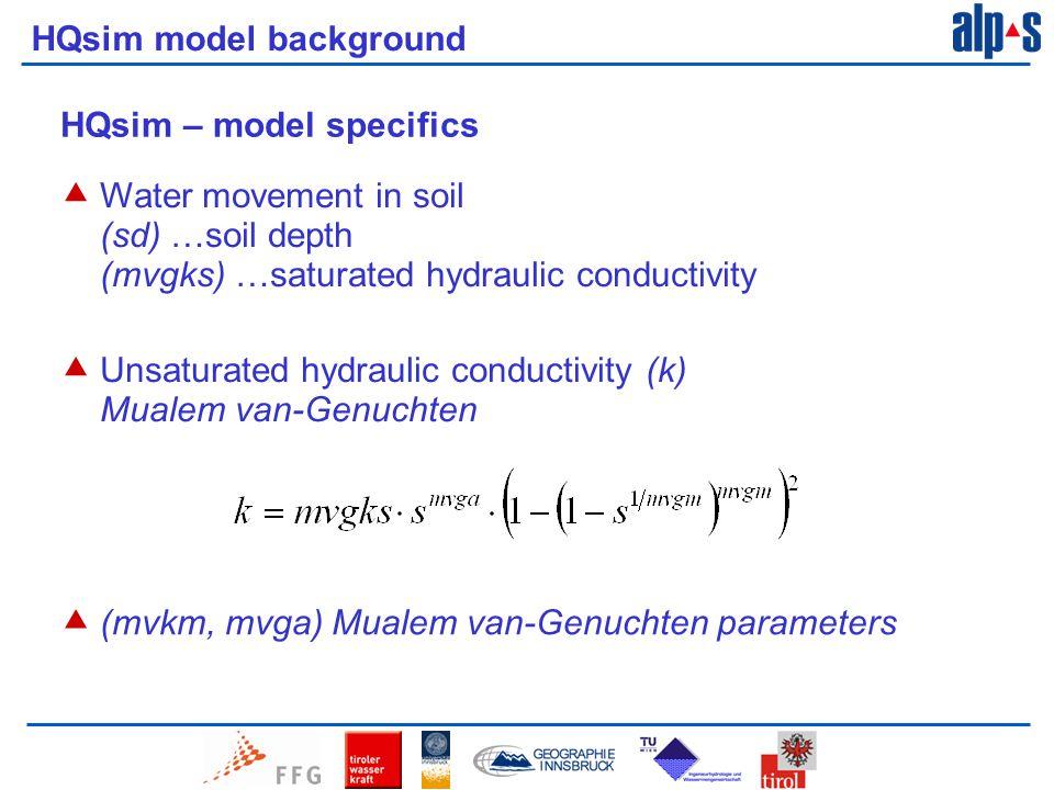 HQsim model background HQsim – model specifics  Water movement in soil (sd) …soil depth (mvgks) …saturated hydraulic conductivity  Unsaturated hydraulic conductivity (k) Mualem van-Genuchten  (mvkm, mvga) Mualem van-Genuchten parameters