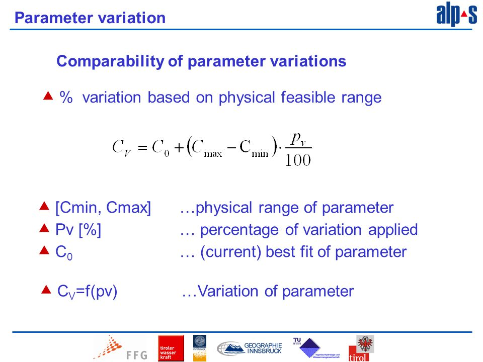 Parameter variation Comparability of parameter variations  % variation based on physical feasible range  [Cmin, Cmax] …physical range of parameter  Pv [%] … percentage of variation applied  C 0 … (current) best fit of parameter  C V =f(pv) …Variation of parameter