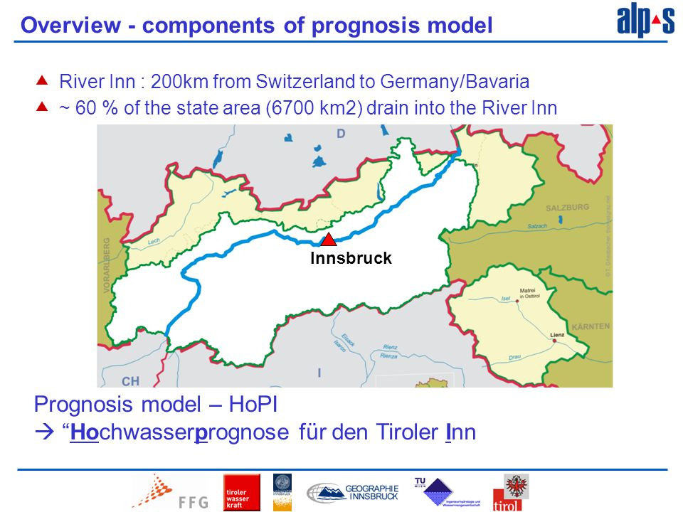 Overview - components of prognosis model  River Inn : 200km from Switzerland to Germany/Bavaria  ~ 60 % of the state area (6700 km2) drain into the River Inn Innsbruck Prognosis model – HoPI  Hochwasserprognose für den Tiroler Inn