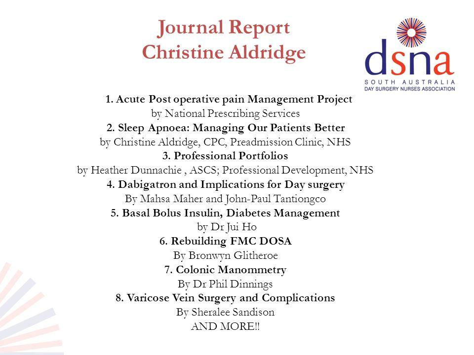 Journal Report Christine Aldridge 1.