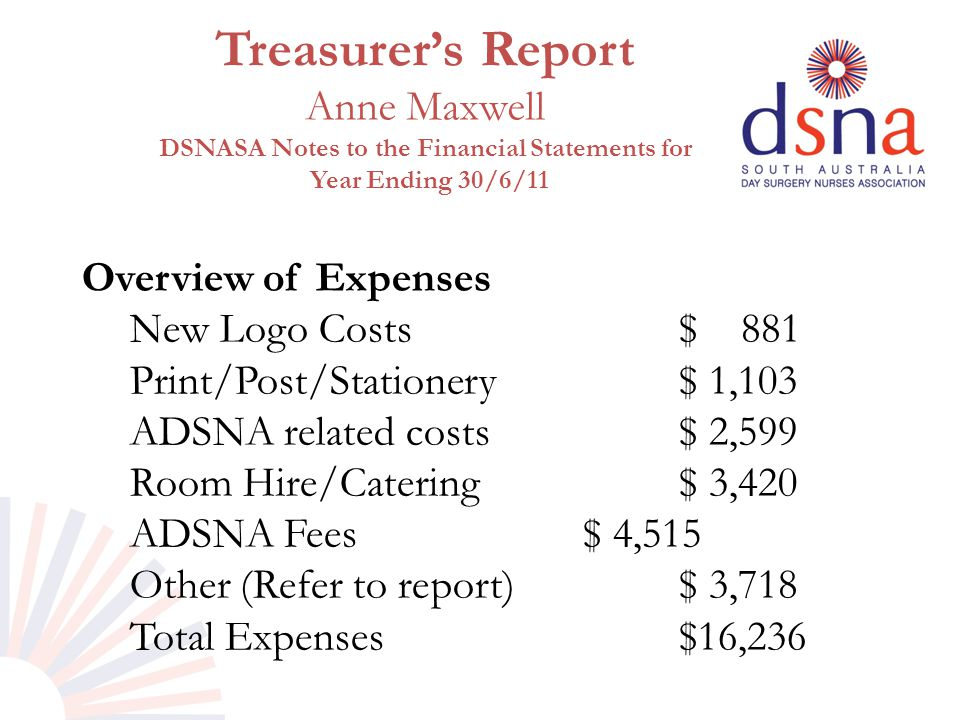 Treasurer's Report Anne Maxwell DSNASA Notes to the Financial Statements for Year Ending 30/6/11 Overview of Expenses New Logo Costs $ 881 Print/Post/
