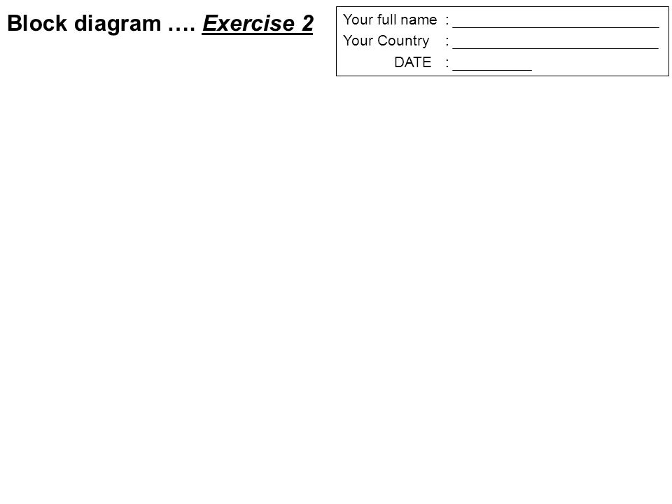 Your full name: Your Country: DATE: Block diagram …. Exercise 2