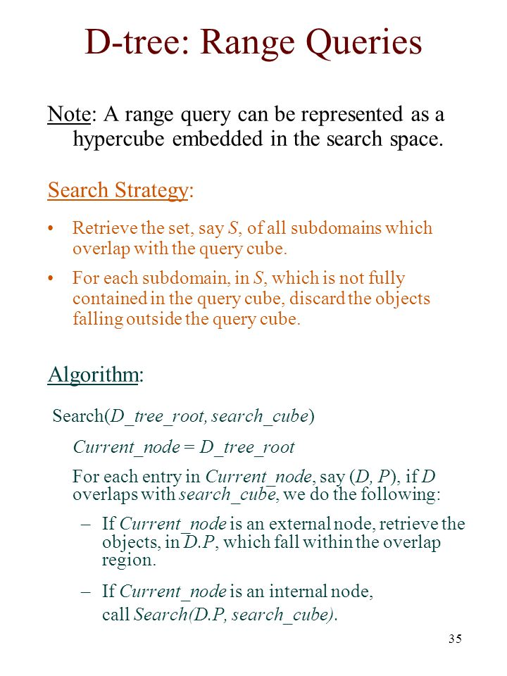 35 D-tree: Range Queries Note: A range query can be represented as a hypercube embedded in the search space. Search Strategy: Retrieve the set, say S,