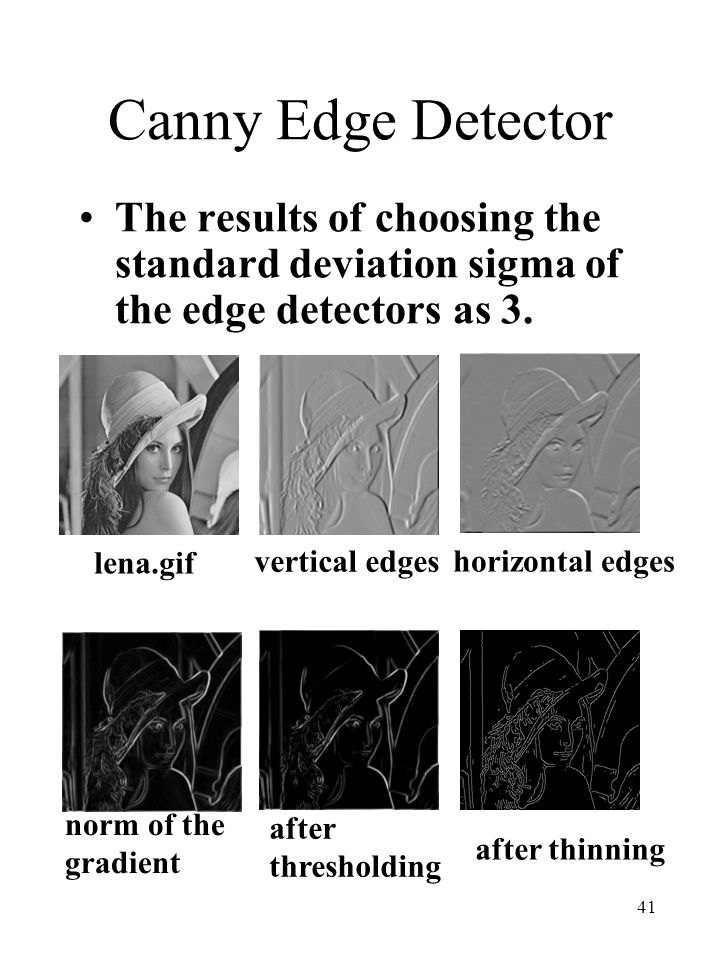 41 Canny Edge Detector The results of choosing the standard deviation sigma of the edge detectors as 3. lena.gif vertical edges horizontal edges norm