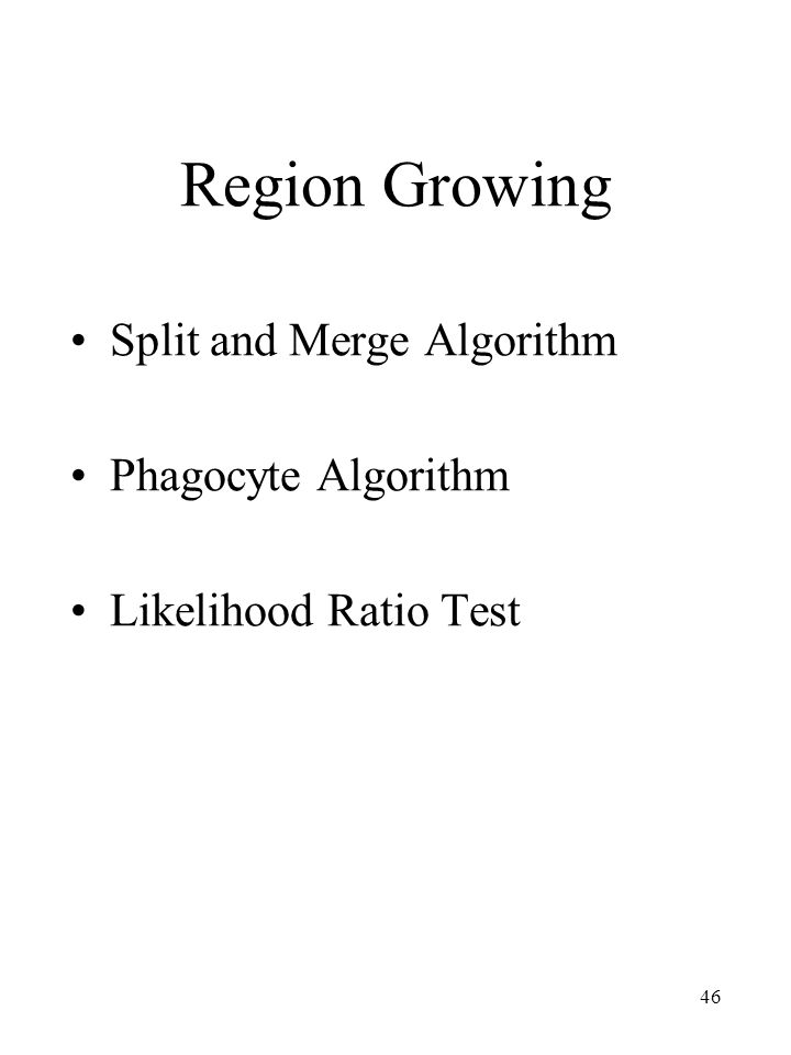 46 Region Growing Split and Merge Algorithm Phagocyte Algorithm Likelihood Ratio Test