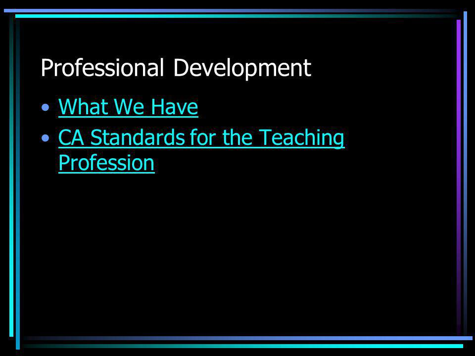Professional Development What We Have CA Standards for the Teaching ProfessionCA Standards for the Teaching Profession