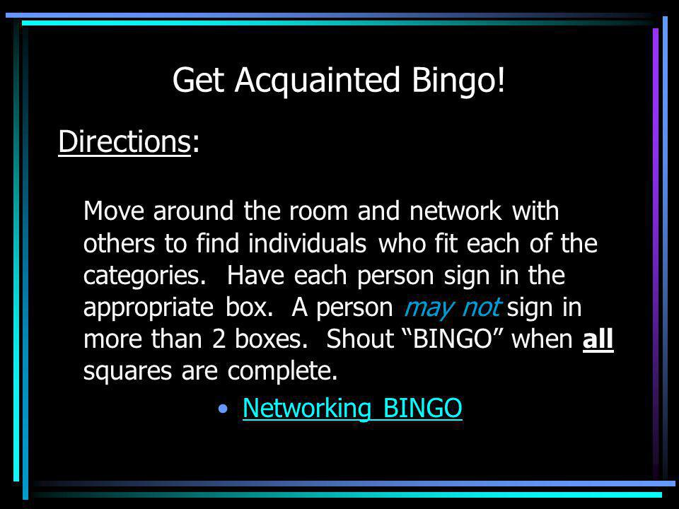 Get Acquainted Bingo! Directions: Move around the room and network with others to find individuals who fit each of the categories. Have each person si