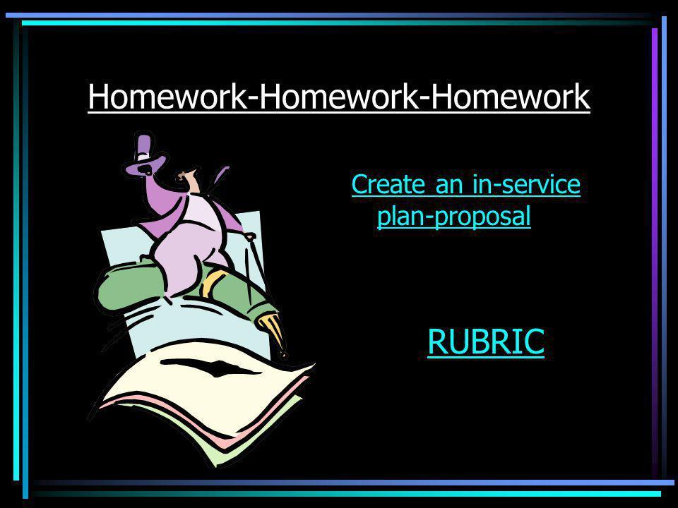 Homework-Homework-Homework Create an in-service plan-proposal RUBRIC