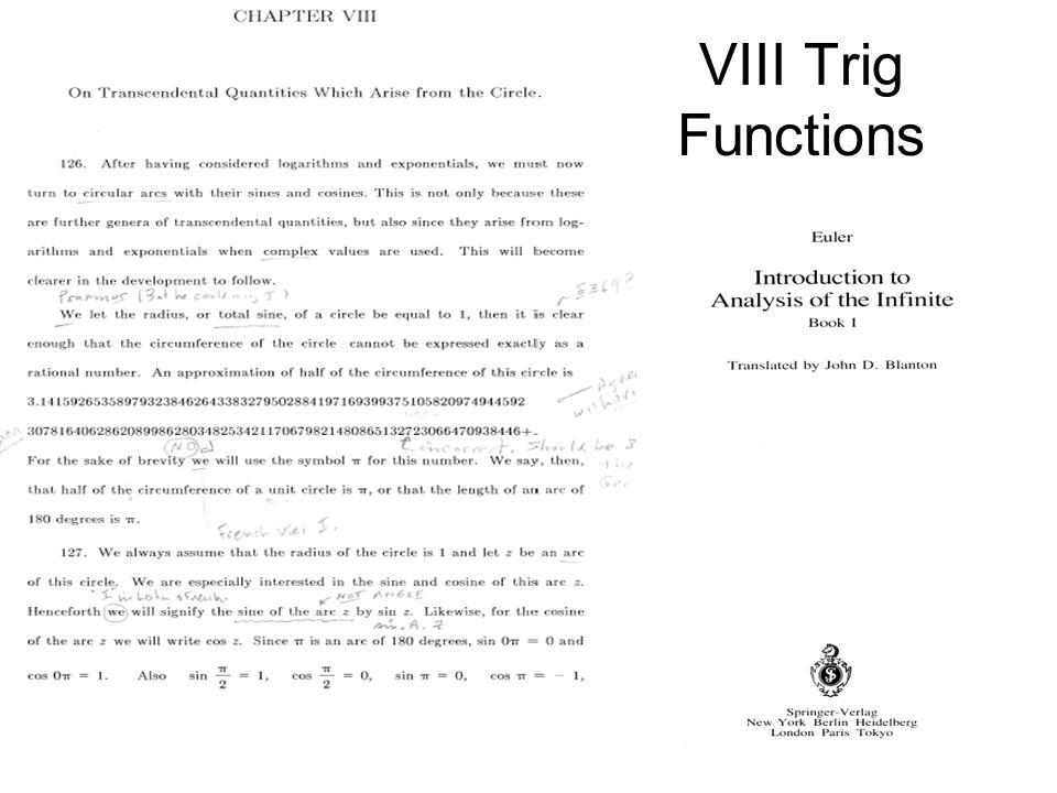 VIII Trig Functions