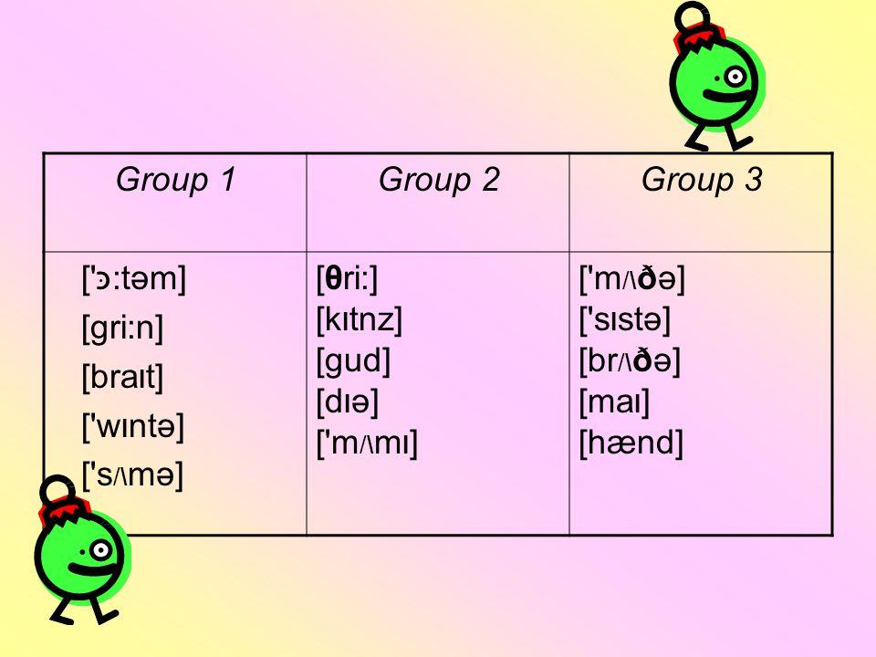 Group 1Group 2Group 3 [ כּ:tәm] [gri:n] [bra I t] [ w I ntә] [ s /\ mә] [θri:] [k I tnz] [gud] [d I ә] [ m /\ m I ] [ m /\ ðә] [ s I stә] [br /\ ðә] [ma I ] [hænd]