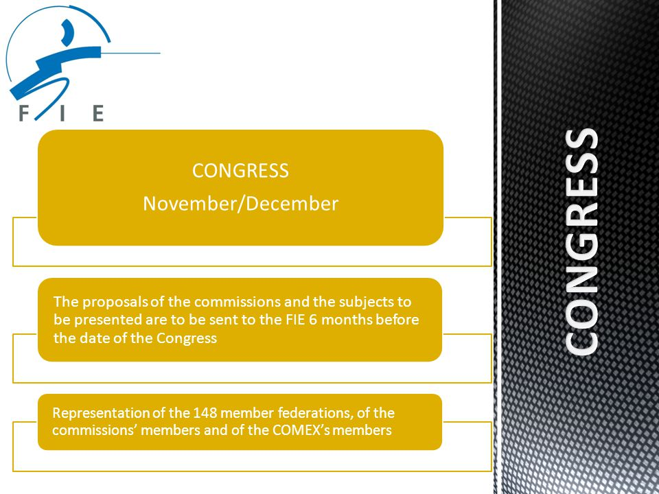 COMEX Has a meeting 4 times a year (February– May – September - December) 21 members: president, vice-presidents, SG, Treasurer, presidents of the confederations and members