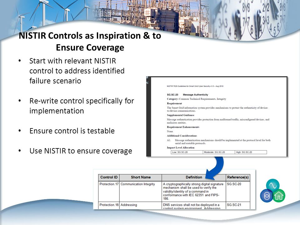 NISTIR Controls as Inspiration & to Ensure Coverage Start with relevant NISTIR control to address identified failure scenario Re-write control specifically for implementation Ensure control is testable Use NISTIR to ensure coverage