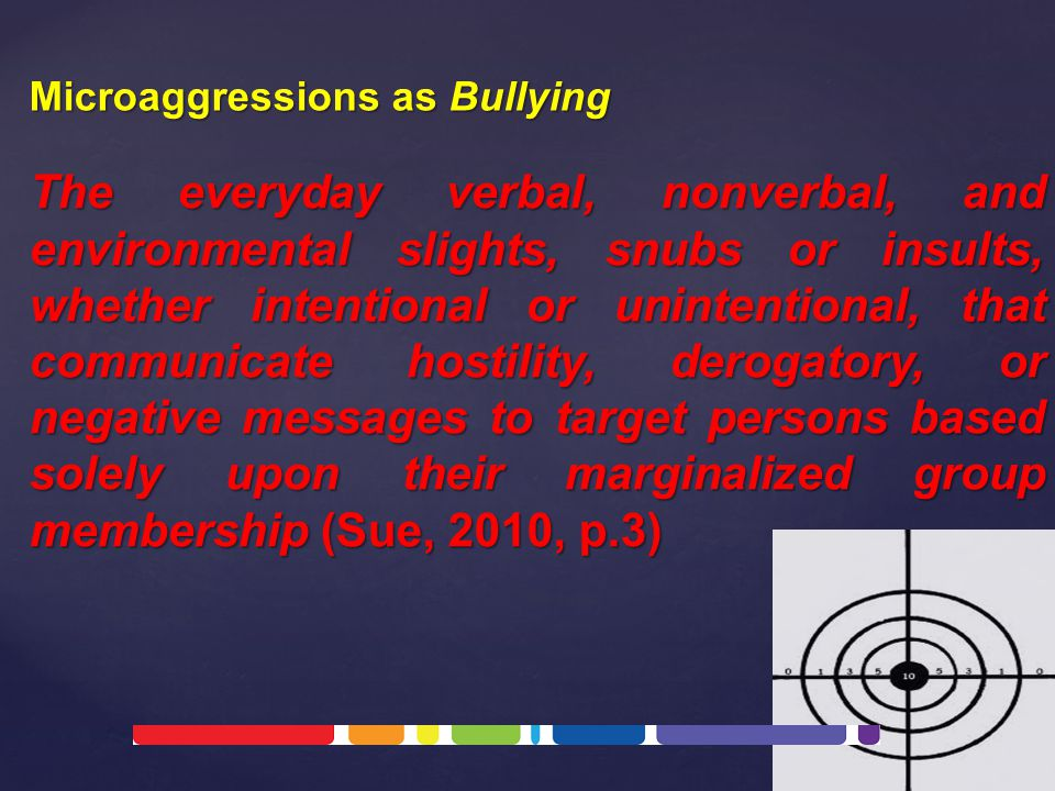 The everyday verbal, nonverbal, and environmental slights, snubs or insults, whether intentional or unintentional, that communicate hostility, derogatory, or negative messages to target persons based solely upon their marginalized group membership (Sue, 2010, p.3) Microaggressions as Bullying