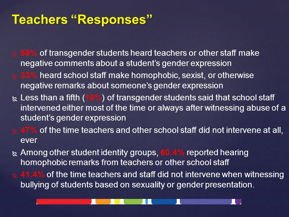   59% of transgender students heard teachers or other staff make negative comments about a student's gender expression   33% heard school staff make homophobic, sexist, or otherwise negative remarks about someone's gender expression   Less than a fifth (16%) of transgender students said that school staff intervened either most of the time or always after witnessing abuse of a student's gender expression   47% of the time teachers and other school staff did not intervene at all, ever   Among other student identity groups, 60.4% reported hearing homophobic remarks from teachers or other school staff   41.4% of the time teachers and staff did not intervene when witnessing bullying of students based on sexuality or gender presentation.