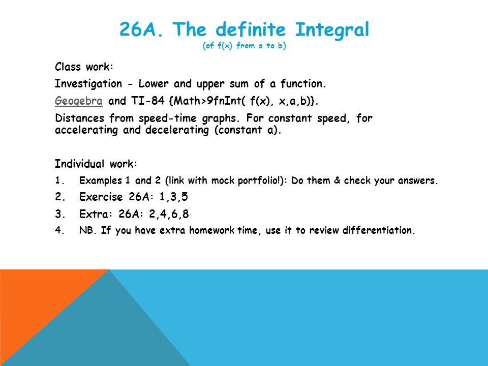 Review unit 26 and Quiz.INDIVIDUAL WORK  HOMEWORK Review Set 26A.