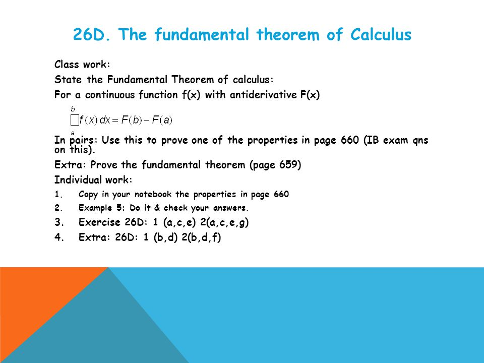 26E.Integration Class work: State the definition of integral.