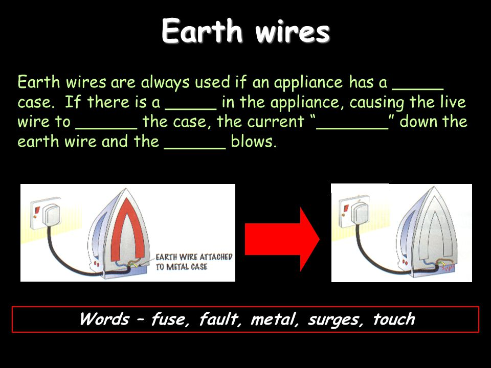 Earth wires Earth wires are always used if an appliance has a _____ case. If there is a _____ in the appliance, causing the live wire to ______ the ca