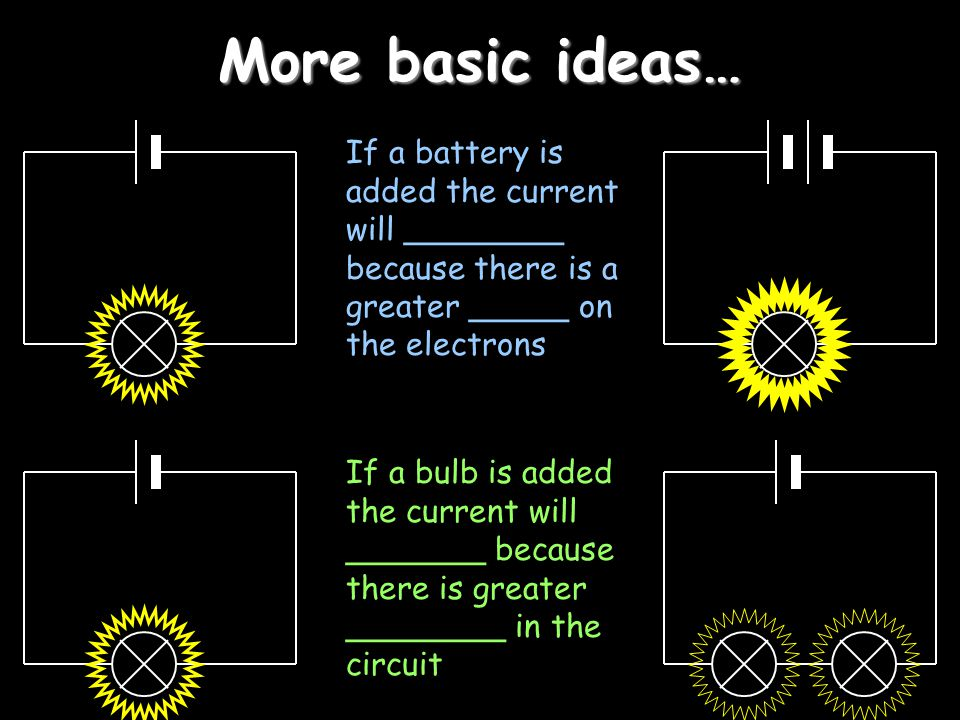 More basic ideas… If a battery is added the current will ________ because there is a greater _____ on the electrons If a bulb is added the current wil