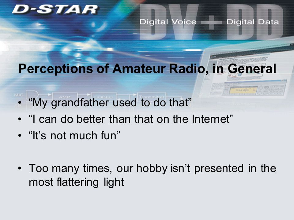 Perceptions of Amateur Radio, in General My grandfather used to do that I can do better than that on the Internet It's not much fun Too many times, our hobby isn't presented in the most flattering light