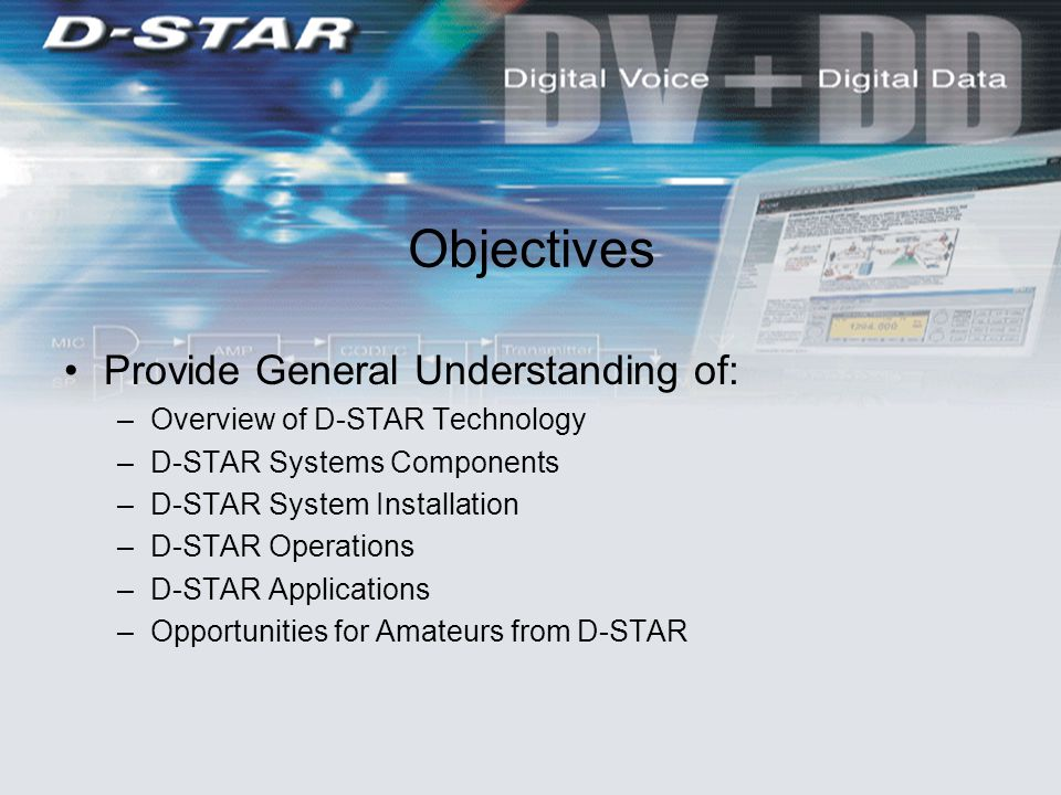 Objectives Provide General Understanding of: –Overview of D-STAR Technology –D-STAR Systems Components –D-STAR System Installation –D-STAR Operations –D-STAR Applications –Opportunities for Amateurs from D-STAR