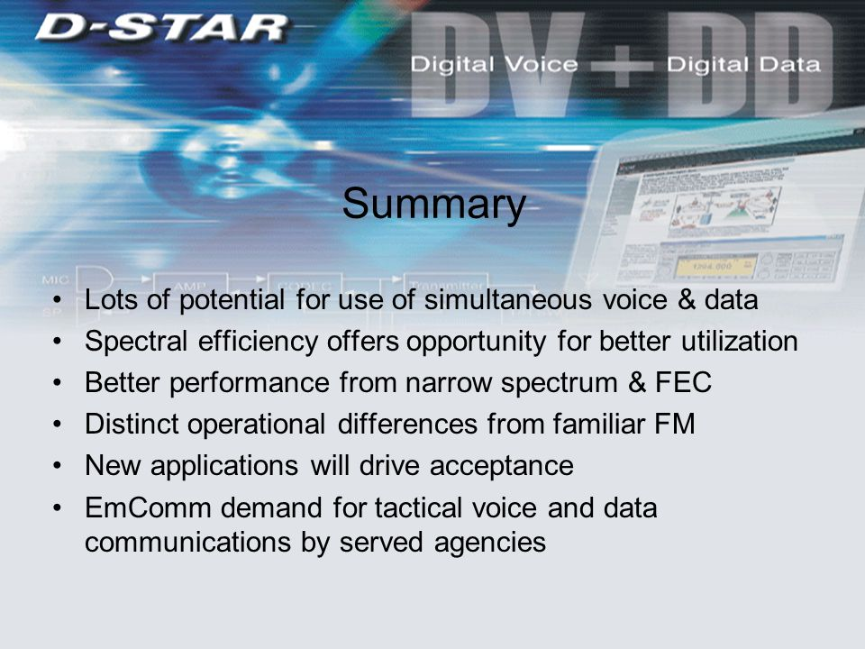 Summary Lots of potential for use of simultaneous voice & data Spectral efficiency offers opportunity for better utilization Better performance from narrow spectrum & FEC Distinct operational differences from familiar FM New applications will drive acceptance EmComm demand for tactical voice and data communications by served agencies
