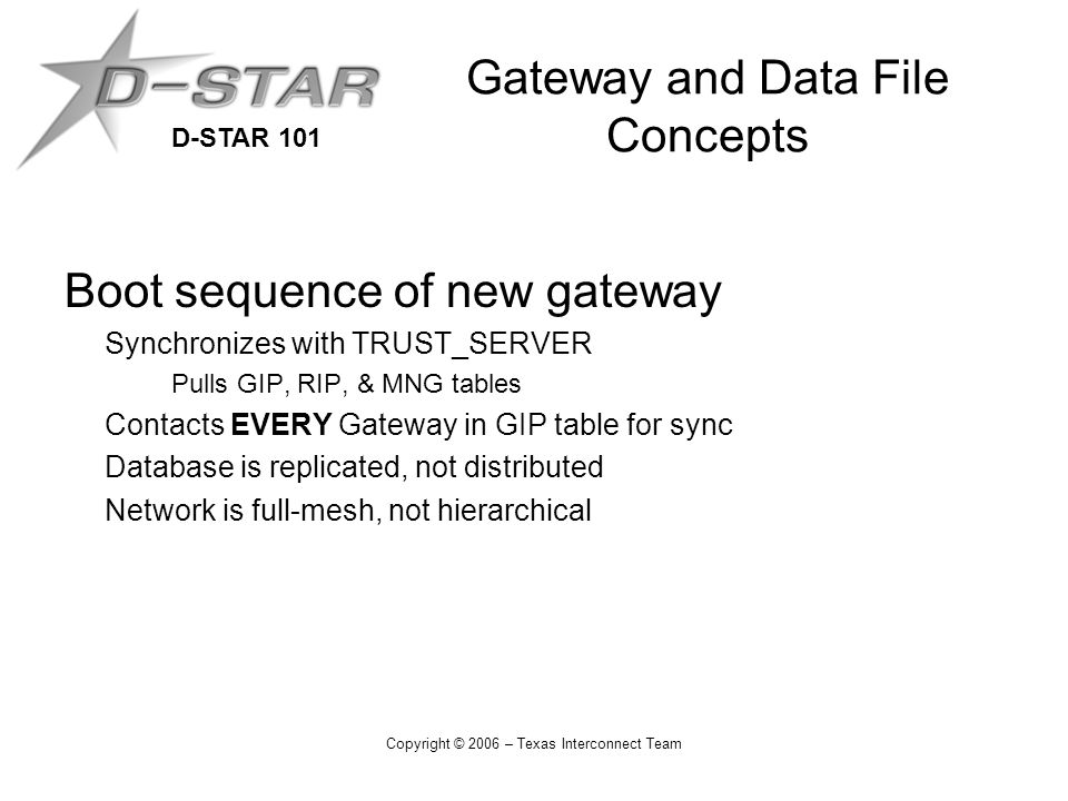 D-STAR 101 Copyright © 2006 – Texas Interconnect Team Gateway and Data File Concepts Boot sequence of new gateway Synchronizes with TRUST_SERVER Pulls GIP, RIP, & MNG tables Contacts EVERY Gateway in GIP table for sync Database is replicated, not distributed Network is full-mesh, not hierarchical