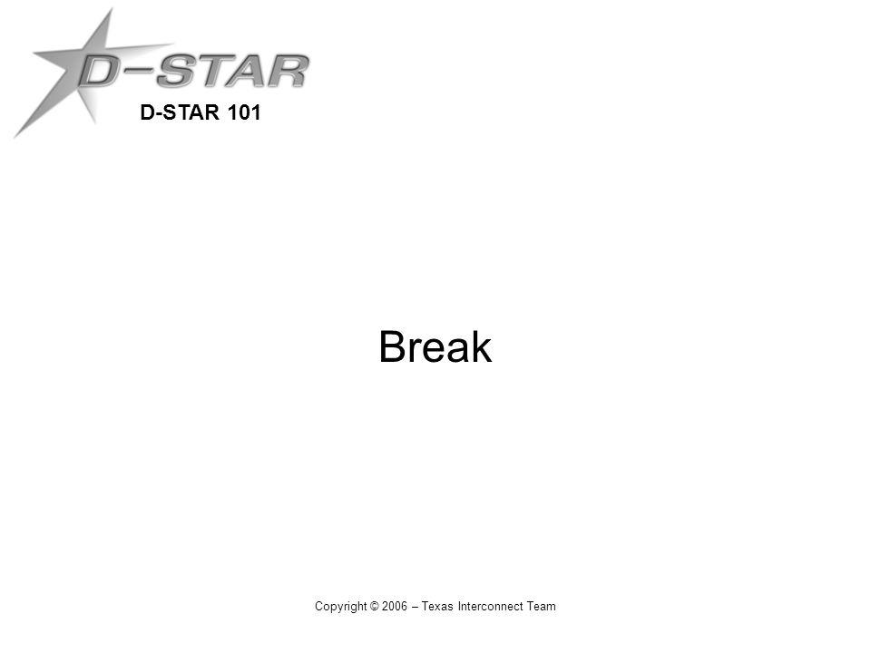 D-STAR 101 Copyright © 2006 – Texas Interconnect Team Break