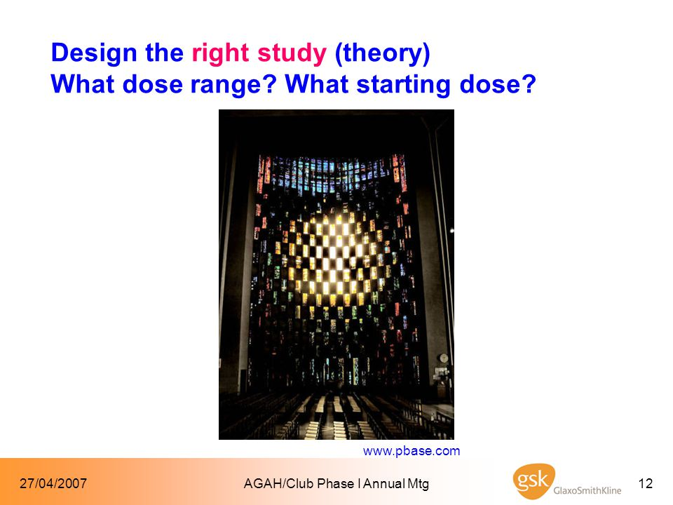27/04/2007AGAH/Club Phase I Annual Mtg12 Design the right study (theory) What dose range.