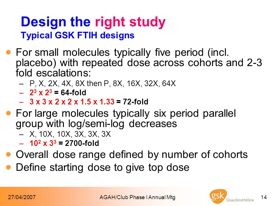 27/04/2007AGAH/Club Phase I Annual Mtg14 Design the right study Typical GSK FTIH designs  For small molecules typically five period (incl.