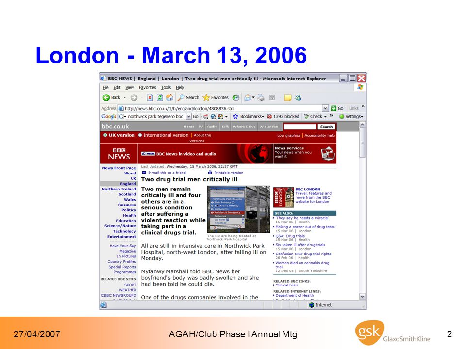 27/04/2007AGAH/Club Phase I Annual Mtg33 Proof of pharmacology  Safety signal  Safety signal from known class of compounds (e.g.