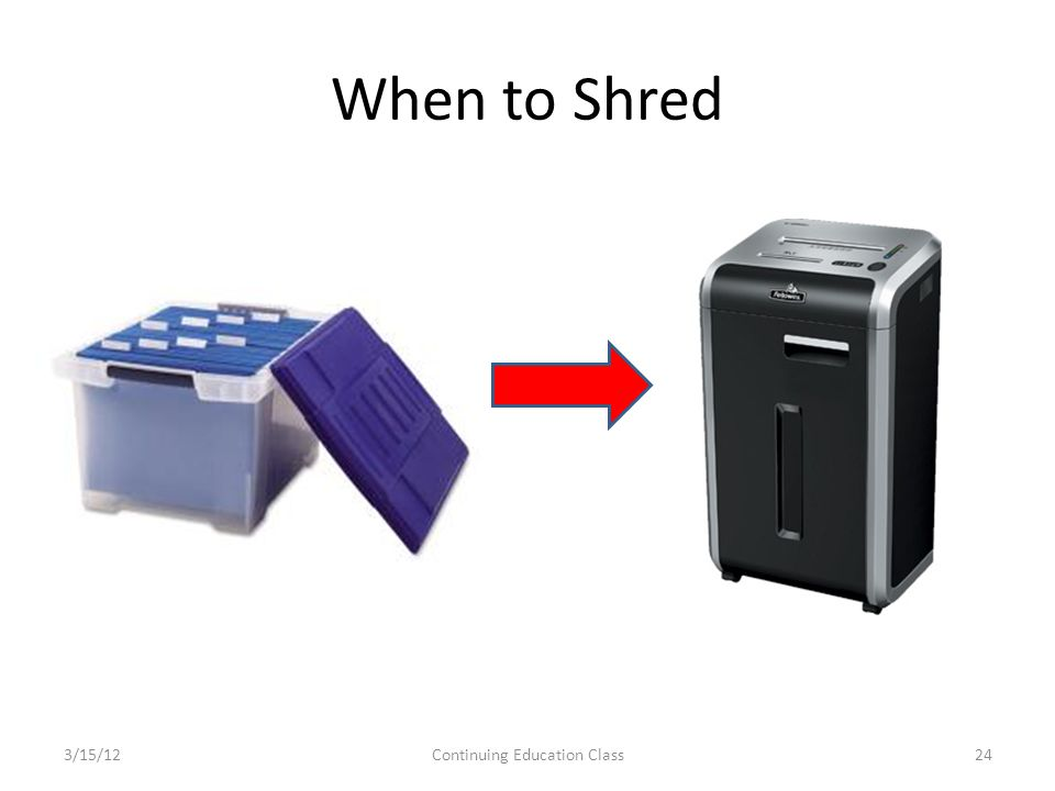 When to Shred 3/15/12Continuing Education Class24