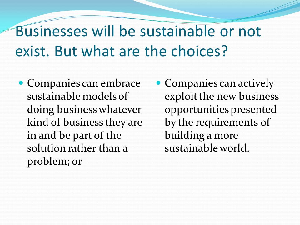 Businesses will be sustainable or not exist. But what are the choices.
