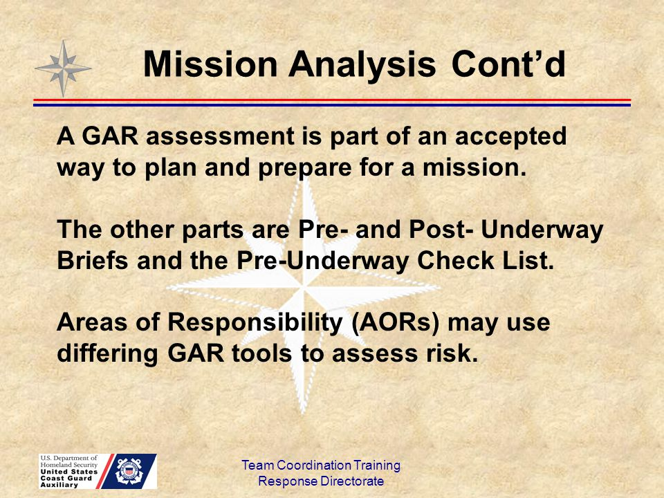 Team Coordination Training Response Directorate A GAR assessment is part of an accepted way to plan and prepare for a mission. The other parts are Pre