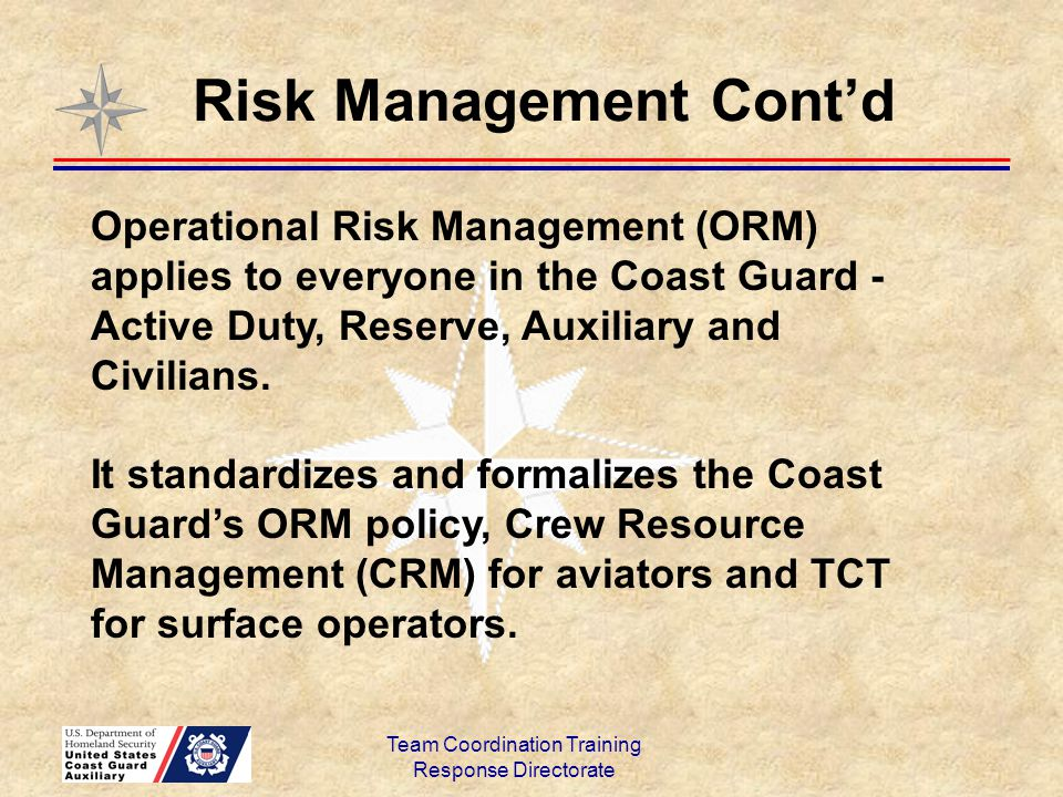 Team Coordination Training Response Directorate Risk Management Cont'd Operational Risk Management (ORM) applies to everyone in the Coast Guard - Acti