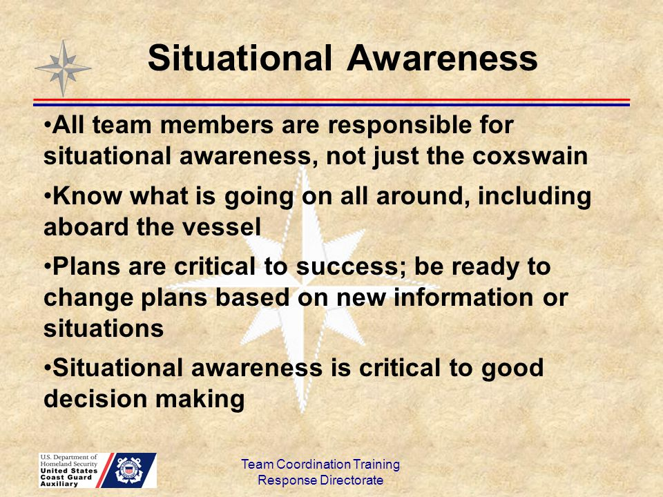 Team Coordination Training Response Directorate All team members are responsible for situational awareness, not just the coxswain Know what is going o