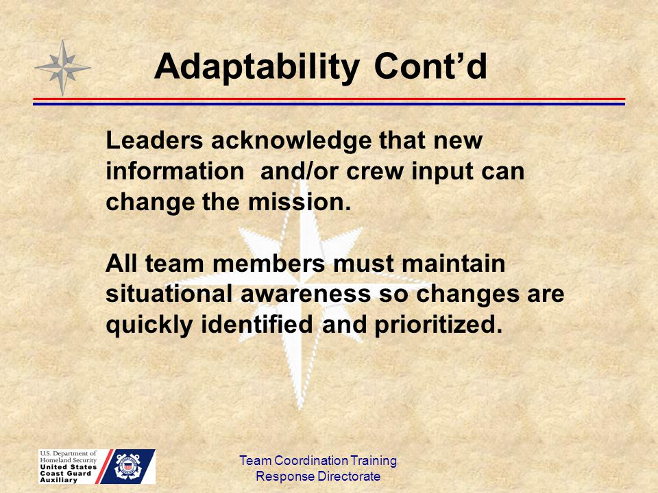 Team Coordination Training Response Directorate Leaders acknowledge that new information and/or crew input can change the mission. All team members mu