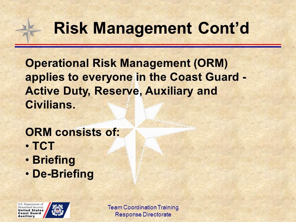 Team Coordination Training Response Directorate Risk Management Cont'd Risk Management asks, and answers, these questions: What hazards exist.