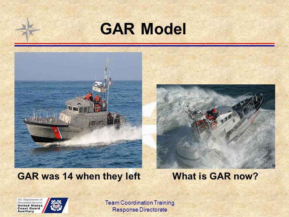 GAR Model Team Coordination Training Response Directorate GAR was 14 when they left What is GAR now?