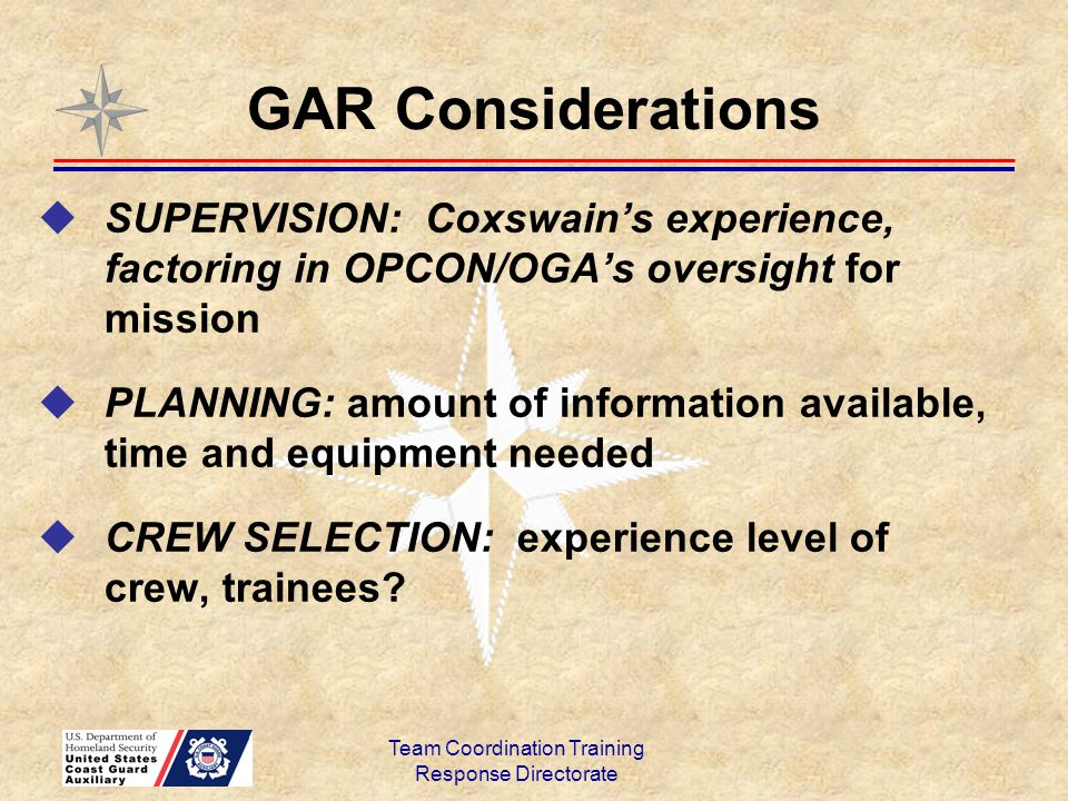  SUPERVISION: Coxswain's experience, factoring in OPCON/OGA's oversight for mission  PLANNING: amount of information available, time and equipment n