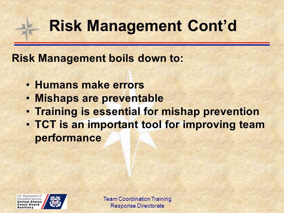 Team Coordination Training Response Directorate Risk Management Cont'd Risk Management boils down to: Humans make errors Mishaps are preventable Train