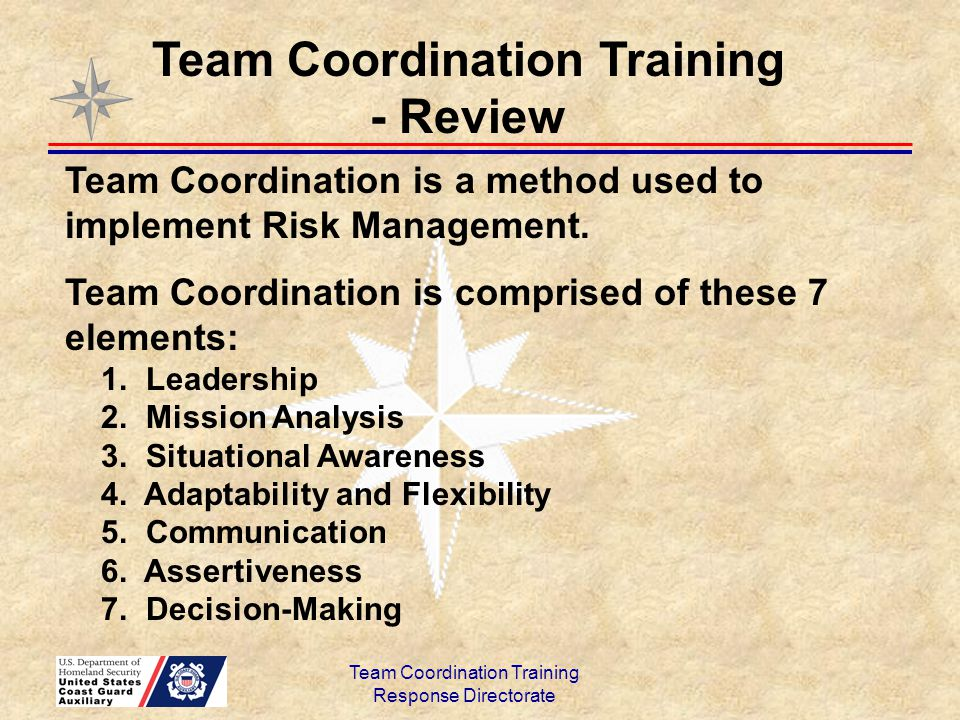 Team Coordination Training Response Directorate Team Coordination is a method used to implement Risk Management. Team Coordination is comprised of the