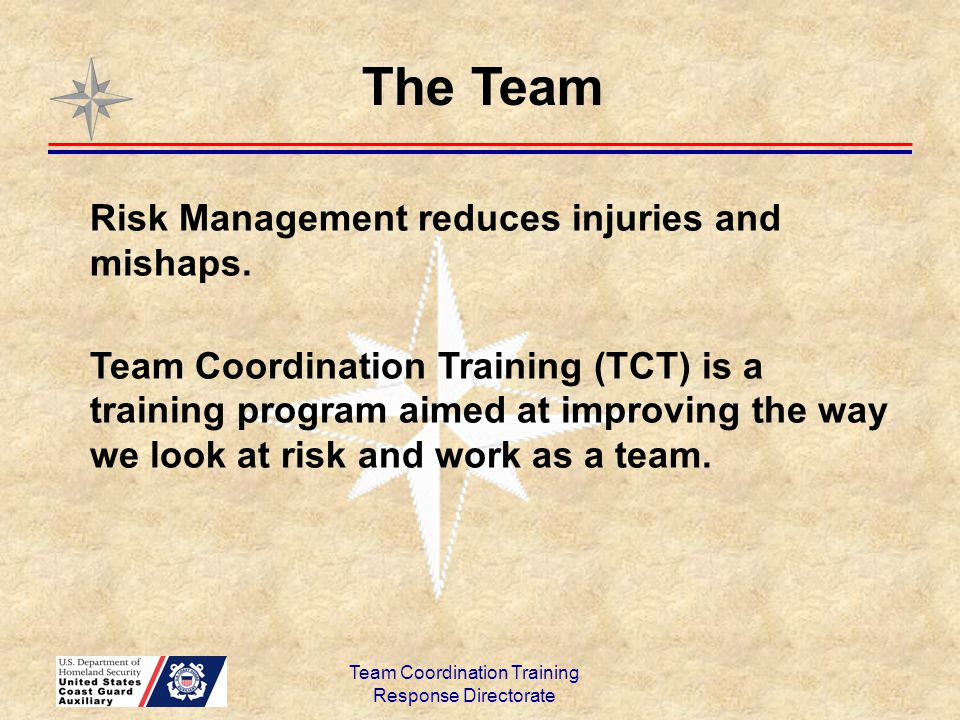 Team Coordination Training Response Directorate Effective Leaders exhibit: Courage Confidence Competence Leadership is not just about giving orders.