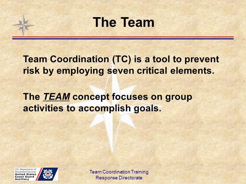 Team Coordination Training Response Directorate Leaders acknowledge that new information and/or crew input can change the mission.