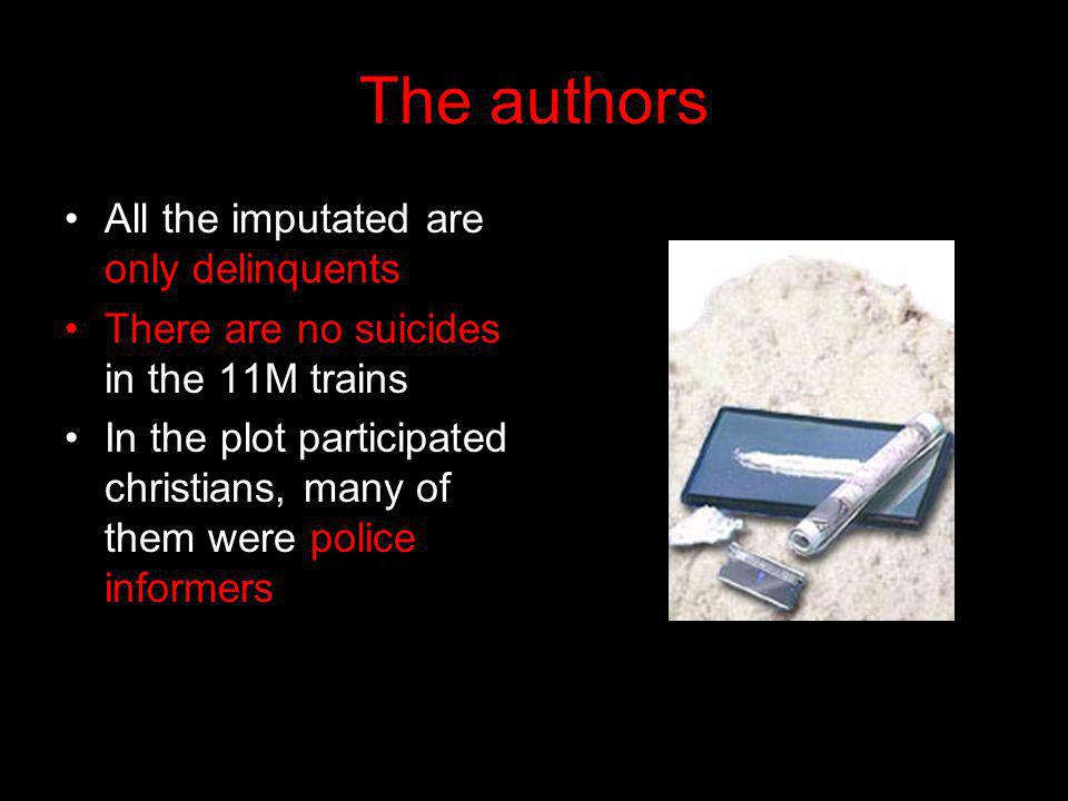 The authors All the imputated are only delinquents There are no suicides in the 11M trains In the plot participated christians, many of them were police informers.