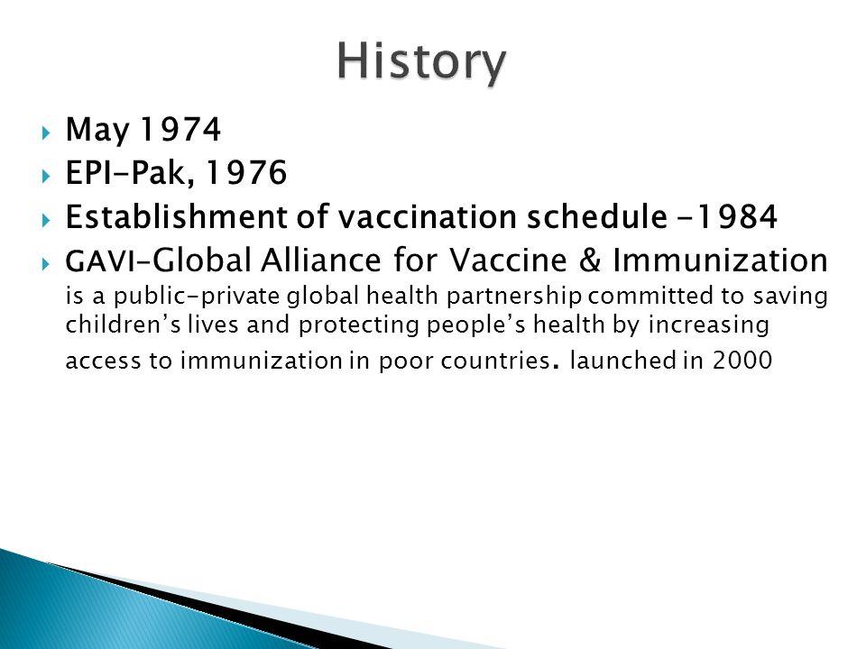  May 1974  EPI-Pak, 1976  Establishment of vaccination schedule -1984  GAVI- Global Alliance for Vaccine & Immunization is a public-private global