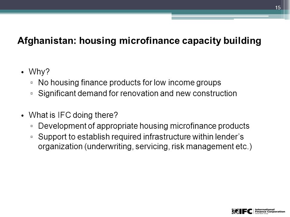 Afghanistan: housing microfinance capacity building Why.