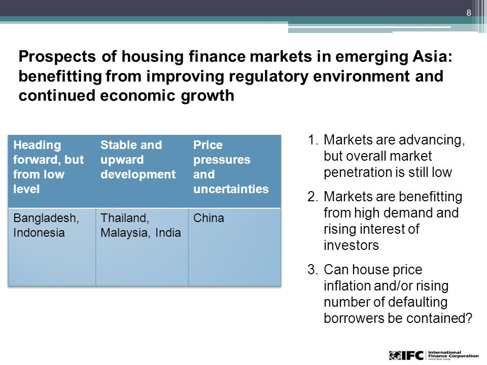 Prospects of housing finance markets in emerging Asia: benefitting from improving regulatory environment and continued economic growth 8 1.Markets are advancing, but overall market penetration is still low 2.Markets are benefitting from high demand and rising interest of investors 3.Can house price inflation and/or rising number of defaulting borrowers be contained