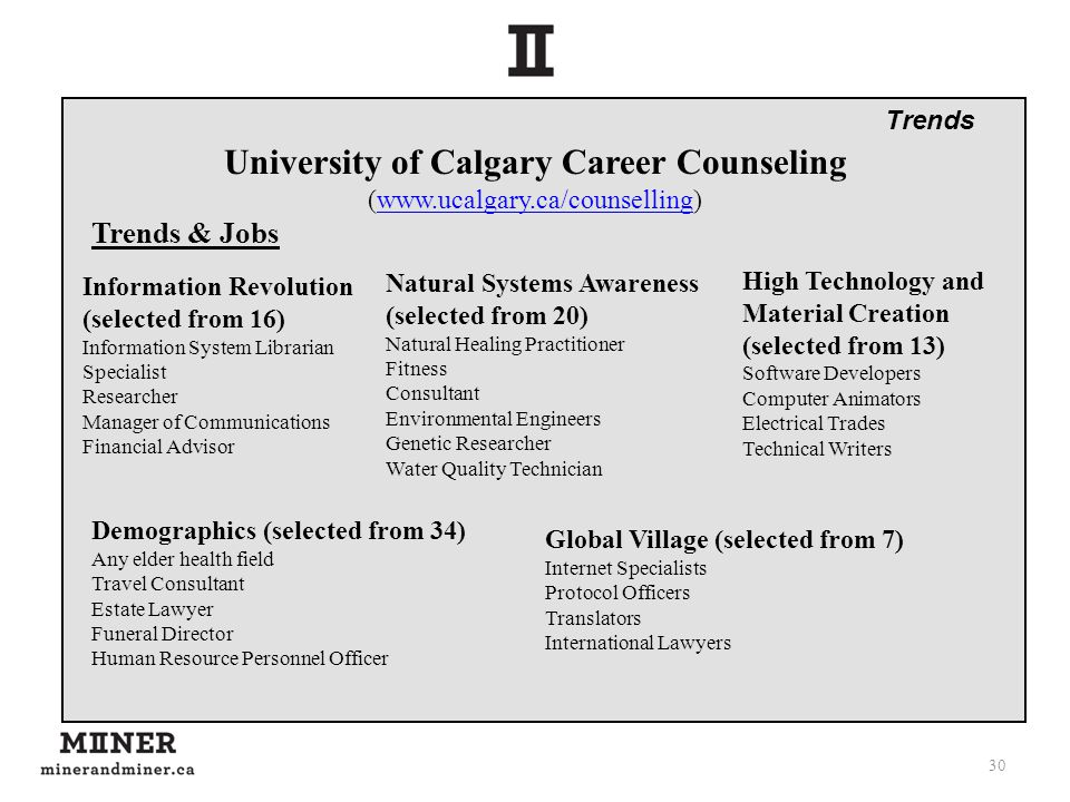 30 University of Calgary Career Counseling (www.ucalgary.ca/counselling)www.ucalgary.ca/counselling Trends & Jobs High Technology and Material Creatio